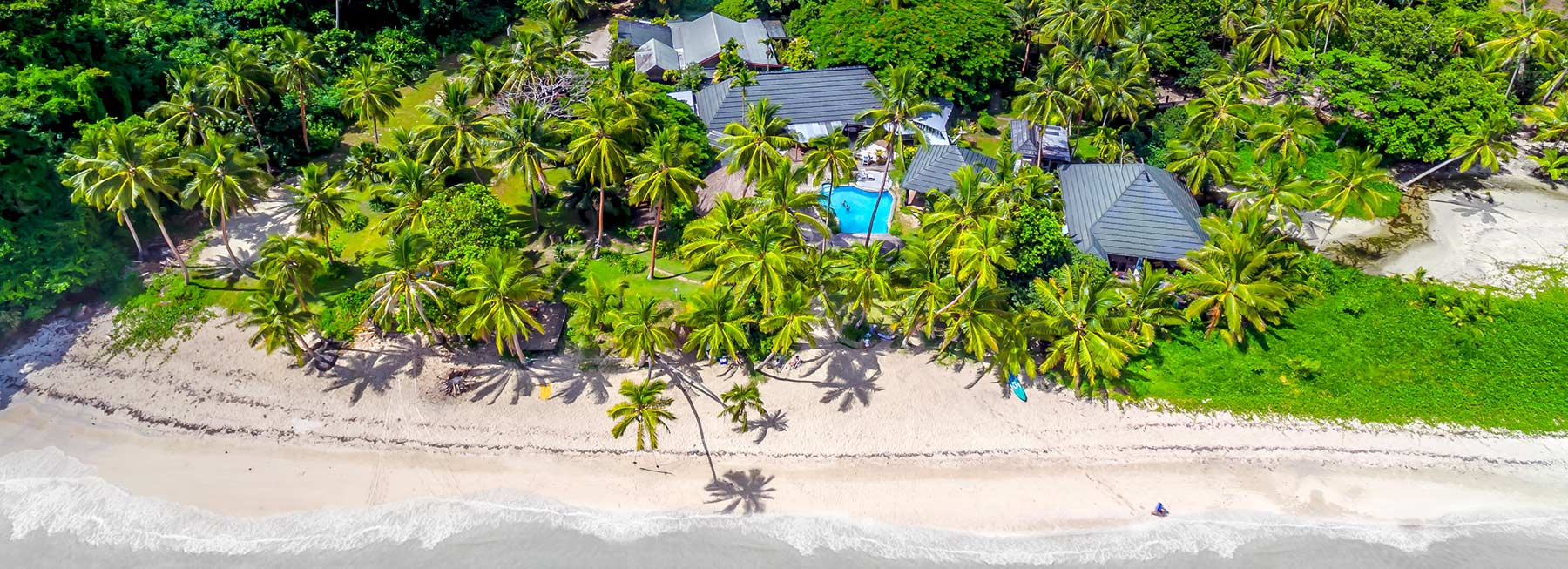 Fiji Beachouse backpacker resort from the air